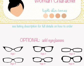 Custom character clip art, made to order digital illustration, build your own character for my stock graphics, light skin version (M02 A)
