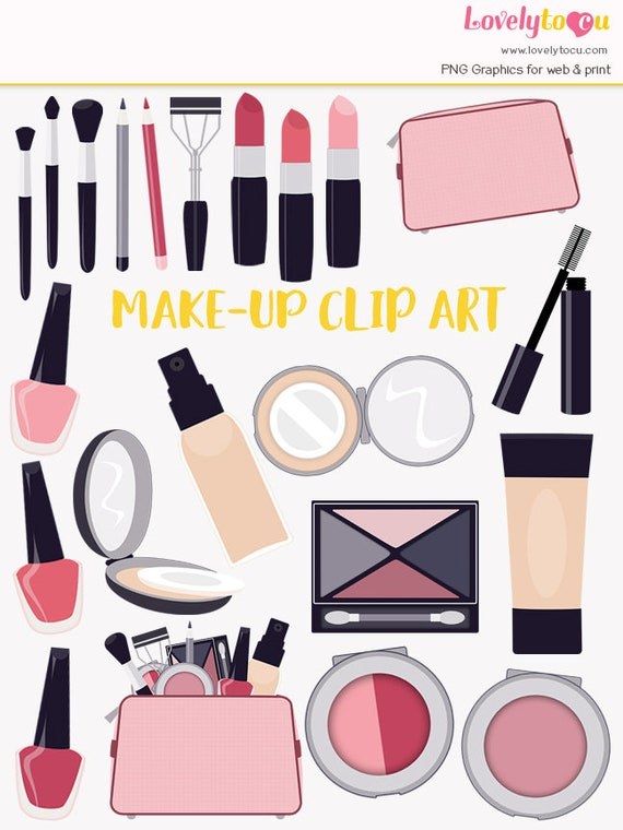 Makeup Bag Clipart Beauty Products Lipstick Nail Polish Eyeshadow Powder Compact Foundation Cosmetics Icon Symbols LC04 From Lovelytocu On