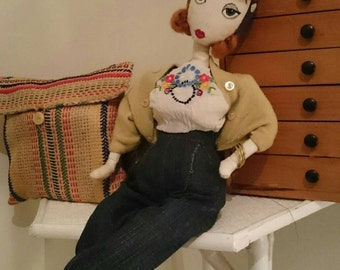 Rosa - 1950s Fashion Embroidered OOAK Doll