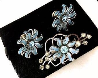 VINTAGE 1940s Blue Flower Heart Demi Parure Set 40s Designer Signed B.N. Retro Brooch-Pendant Earrings Costume Jewelry Mid Century