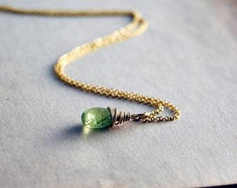 Vesuviante Necklace, Green Vesuviante, Gemstone Jewelry, Gemstone Pendant, 14k gold filled, Vesuvianite Pendant, PoleStar, Grass Green