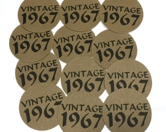 50th Birthday - Vintage 1968, Stickers - Round 1 1/2 Inch, Kraft Brown with Black Print or Your Colors, Set of 12