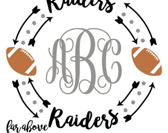 Raiders Football Monogram Wreath frame with arrows (monogram NOT included) - SVG, DXF, png, jpg digital cut file for Silhouette or Cricut