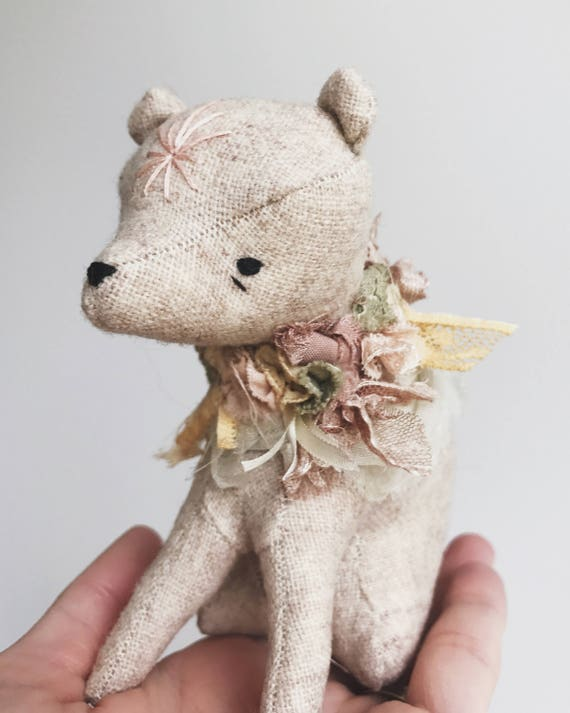 little bear in bloom | soft sculpture animal
