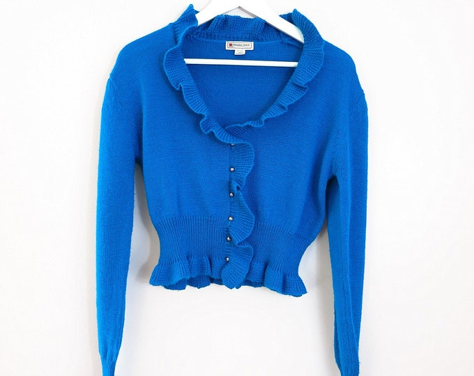 Vintage 80s Blue Sweater | 1980s Ruffled Cropped Sweater Cardigan M