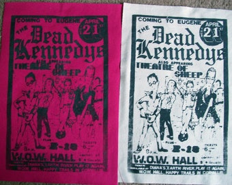 Hand Printed Dead Kennedys  Large Punk Back Patches Live in Eugene Poster Eleven Colors Available
