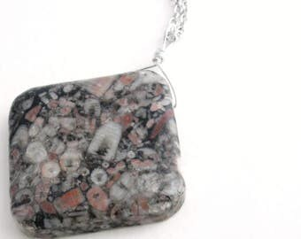 Crinoid Fossil Necklace, Jasper Stone Pendant, Fossilized Science Jewelry
