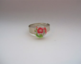 Flower glass cabochon ring,adjustable silver tone ring