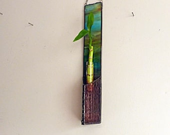 Hanging Bamboo Planter, Multi Colored, Purple, Stained Glass, Window Suncatcher