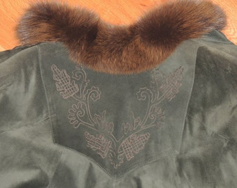 German Green Embroidered Suede Cape with Fur Collar