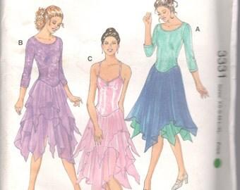 Kwik Sew 3331 1990s Misses Leotards Pattern Layered Hankerchief Skirt Scoop Neck Womens DANCE Sewing Size Xs S M L Xl Bust 31 - 45 UNCUT