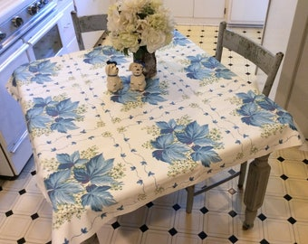 Vintage Tablecloth Beautiful Blue Leaves