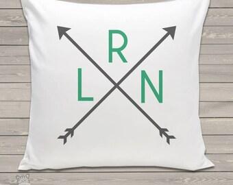 Custom arrow monogram throw pillow with pillowcase made to match room colors AMTP