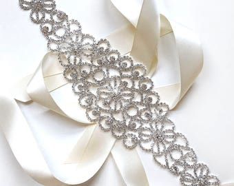 Flowery Silver & Rhinestone Bridal Belt Sash - Ivory White Satin Ribbon Tie - Silver and Crystal Wide Wedding Dress Belt - 12 inch