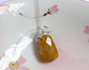 Brown Yellow Mookaite Necklace, Silver Bow Charm, Natural Stone Wire Wrappe Pendant