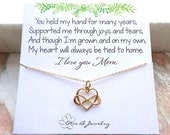 Gift for Mom, Mothers Day Gift, Infinity necklace, love, heart charm, forever, mother of the bride gift from daughter, sentimental, Otis B