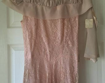 1930s New Old Stock TEA DRESS Needs Cleaning Lace Chiffon With Detached Semi Sleeves Gown Formal