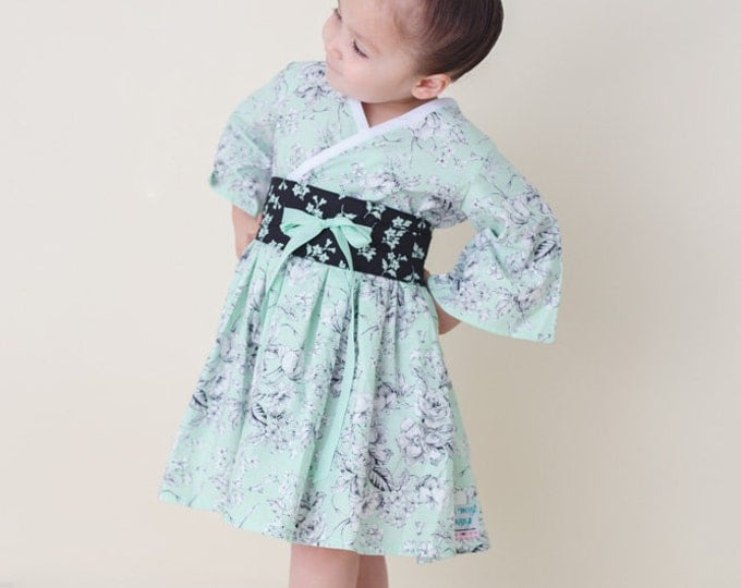 Little Girl Dress - Boutique Easter Dresses - Toddler Girl Clothes - Girls Birthday Dress - Mint - Kimono Dress - Long Sleeves 2t to 7 years