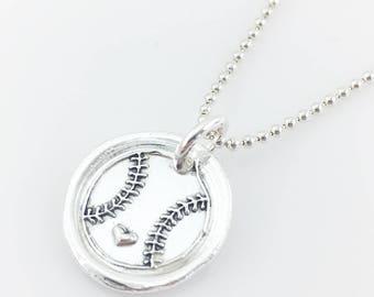 Baseball Love | Softball Love | Wax Seal Inspired Necklace - handmade, fine silver