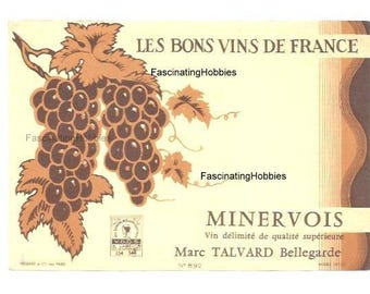 Vintage Label- les Bons VINS de FRANCE - Minervois from BURGUNDY by Marc Talvard - French Printed paper - years 1960 - very good condition