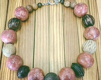 Amazing Extra Large Coral Beads / Rounds with Natural Seeds, Pods, & Nuts and Sterling Silver Toggle Statement Necklace