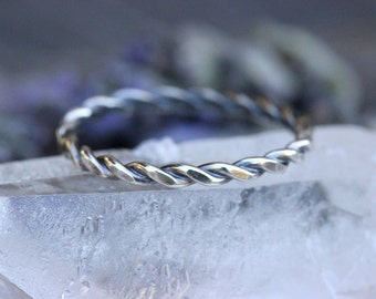 Sterling Silver Stacking Ring Sterling Silver Ring Band Silver Stacking Rings Silver Stackable Rings Sterling Silver Twisted Rope Ring