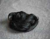 Viscose fiber 1 oz black for felting, spinning, nuno felting, art batts projects, doll making - Viscose roving combed tops
