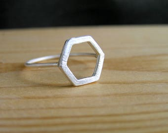 Hexagon Sterling Silver Ring. Honeycomb Ring. Geometric Ring. Minimalist Silver Ring. Simple ring