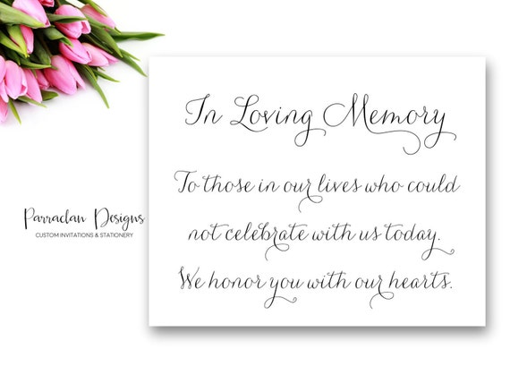 In Loving Memory Wedding Sign | In Loving Memory | Wedding Sign | {FS01}
