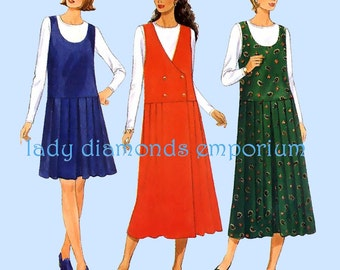 Butterick 4089 Womens Dropped Waist Pleated Skirt Jumper & Top 12 14 16 Bust 34 36 38 Vintage Easy Average Plus Size Sewing Pattern Uncut FF