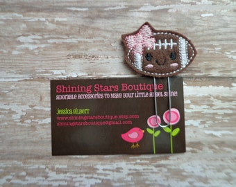 Fun Planner Clips - Dark Brown And White Girly Football With A Bow Paperclip Or Bookmark - Book Accessory For Fall - Sports Paperclip