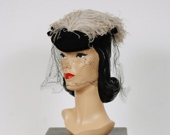 Vintage 1940s Hat  - Exquisite 40s Tilt Hat with Massive Pale Blue Grey Ostrich Feather Plume by New York Creations