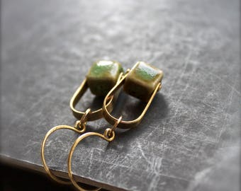 Pistachio Green Cube Earrings - Gold Brass, Riveted Arch Drop Dangle, Boho Metalwork Jewellery