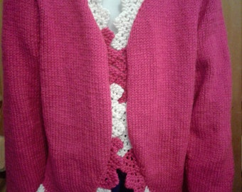 Hand knit Child Pink Ruffled Bolero, fits ages 6-7