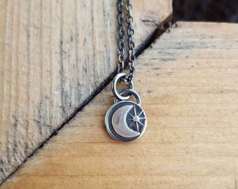 Moon necklace - lunar - moon - crescent moon - star