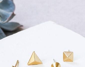 Remix Earring Set, Stud Earrings Set, Geometric Studs, Tiny Earrings, Minimal Earrings, Everyday Earrings, Tiny Geometric Earrings