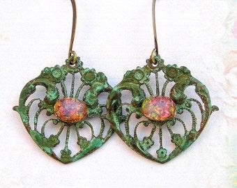 Vintage Opal Earrings, Patina Verdigris Earrings, Vintage Style Earrings