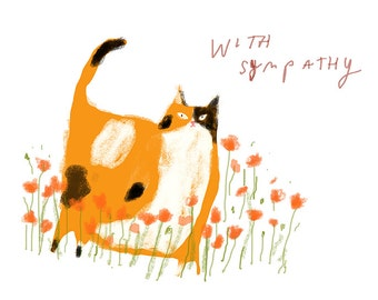 With Sympathy Cat Card - Poppy Cat - Sympathy Card - Pet