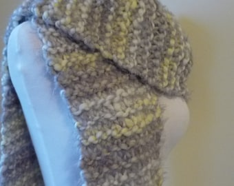 Knit Scarf with Fringe Womens Scarf Warm Winter Scarf in Light Grey/Yellow Tones 8 x 80 - Ready to Ship
