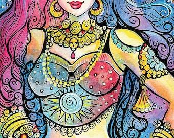 Kali, Indian goddess art, watercolor illustration, Indian painting, Indian woman, giclee, feminine decor, beauty painting print 8x12+