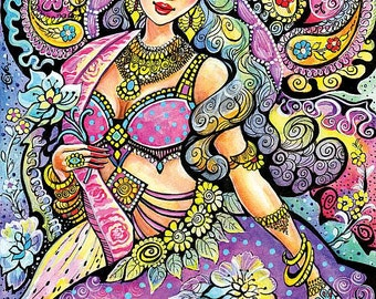 fantasy woman art beautiful Indian woman painting Indian wall decoration affordable art gifts, poster woman wall print 8x11+