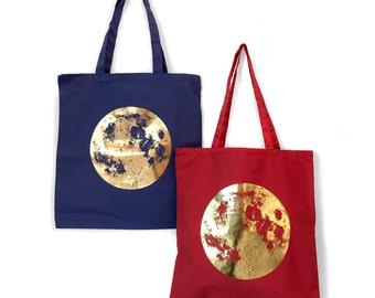 Gold Moon Tote bag, Full Moon Tote Bag, Handbags, Copper Moon, Shoulder bags, Women's Handbag, Shopping Tote, Space Tote Bag, Beach Tote,