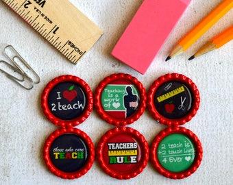 Teacher Gift- Bottlecap Magnets- Thank you Gift- Teacher Appreciation- Teacher Birthday, Teacher Christmas- Teacher Love- School Magnets