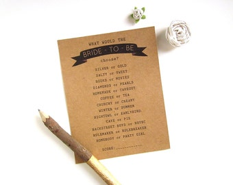 Bridal Shower Games Rustic - How Well Do You Know the Bride Game - Fun Bridal Shower Games - Bridal Shower Game Idea - This or That Game