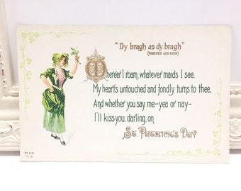 Vintage St. Patrick's Day Postcard, Vintage Postcard, St. Patrick's Day Postcard, Ephemera, Lovely Irish Lady in Green with Shamrocks