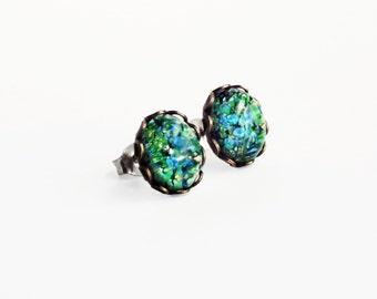 Emerald Green Glass Opal Stud Earrings Vintage Green Fire Opal Post Earring Green Opal Jewelry  Hypoallergenic Studs