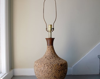 midcentury cork lamp, extra large table lamp, vintage cork lamp, danish modern lighting, wood and brass accents, classic mcm natural decor