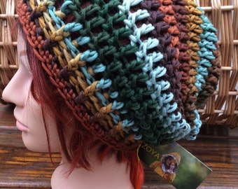 Striped Crocheted Slouch Hat 57/16
