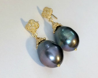 Black Baroque Pearl Earrings Gold Vermeil Post Earrings Black Pearl Drop Earrings Black Peacock Baroque Pearl Wedding Jewelry