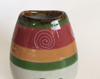 El Palomar TONALA Mexican Art Pottery, Small Vintage Ceramic Vase